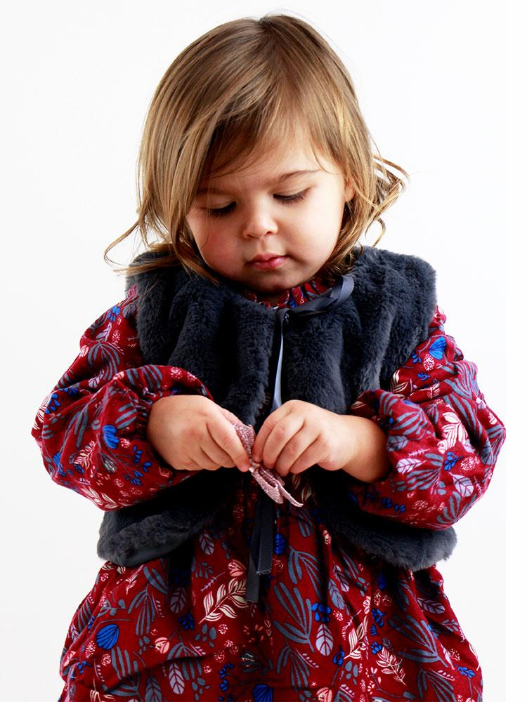 Winter Petal Dark Red Dress with Matching Grey Faux Fur Gilet - 6 months to 2-3y - Stylemykid.com