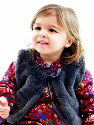 Winter Petal Dark Red Dress with Matching Grey Faux Fur Gilet - Stylemykid.com