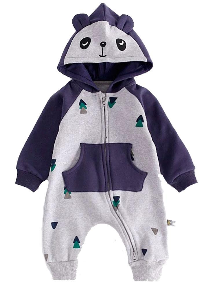 Woodland Bear Onesie in Navy & Grey - Stylemykid.com