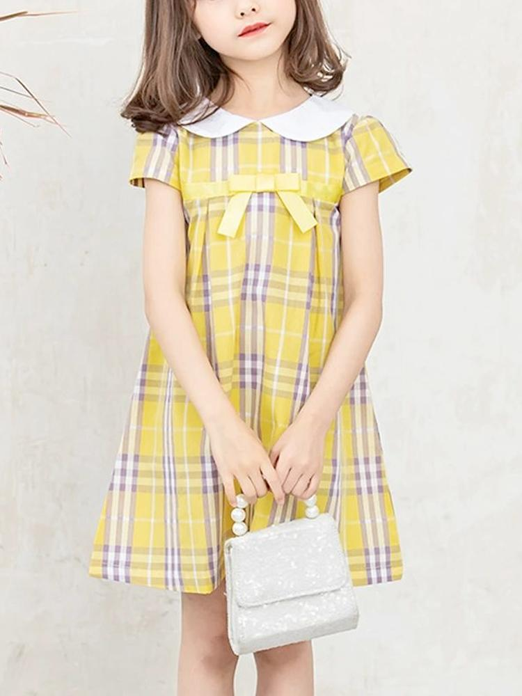 Yellow Plaid Peter Pan Collar Girls Dress - Stylemykid.com