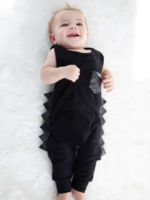 Black on Black Sleeveless Romper with Faux Leather Dino Spikes - Stylemykid.com