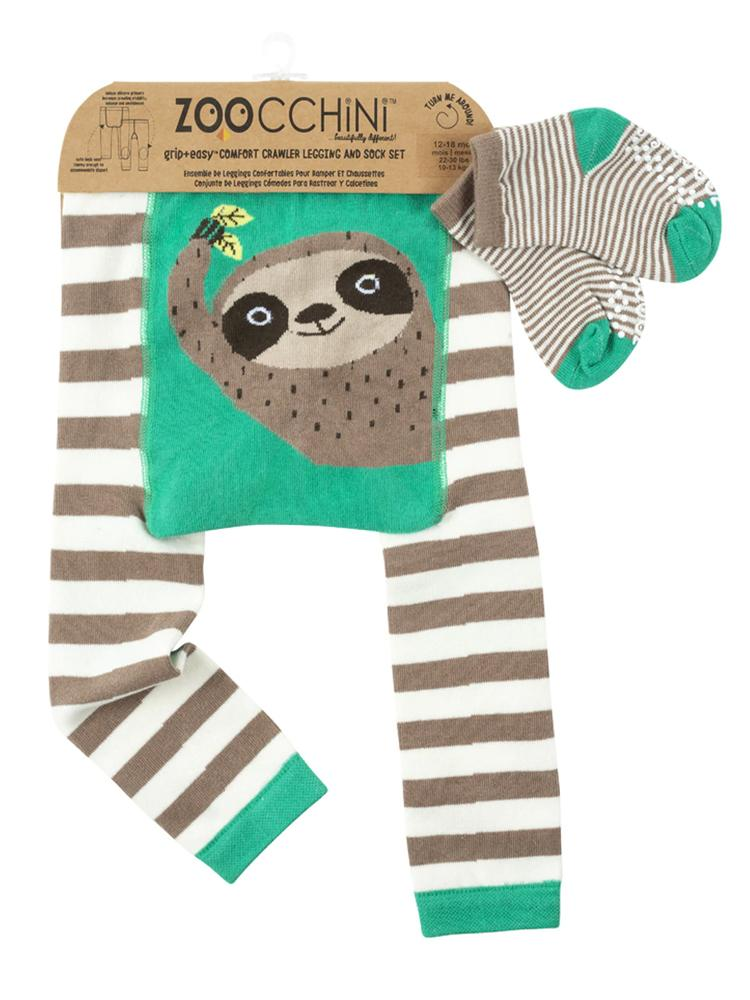 Zoocchini - Baby / Toddler Leggings & Socks Set - Grip+Easy™ Comfort Crawlers - Sloth - Stylemykid.com