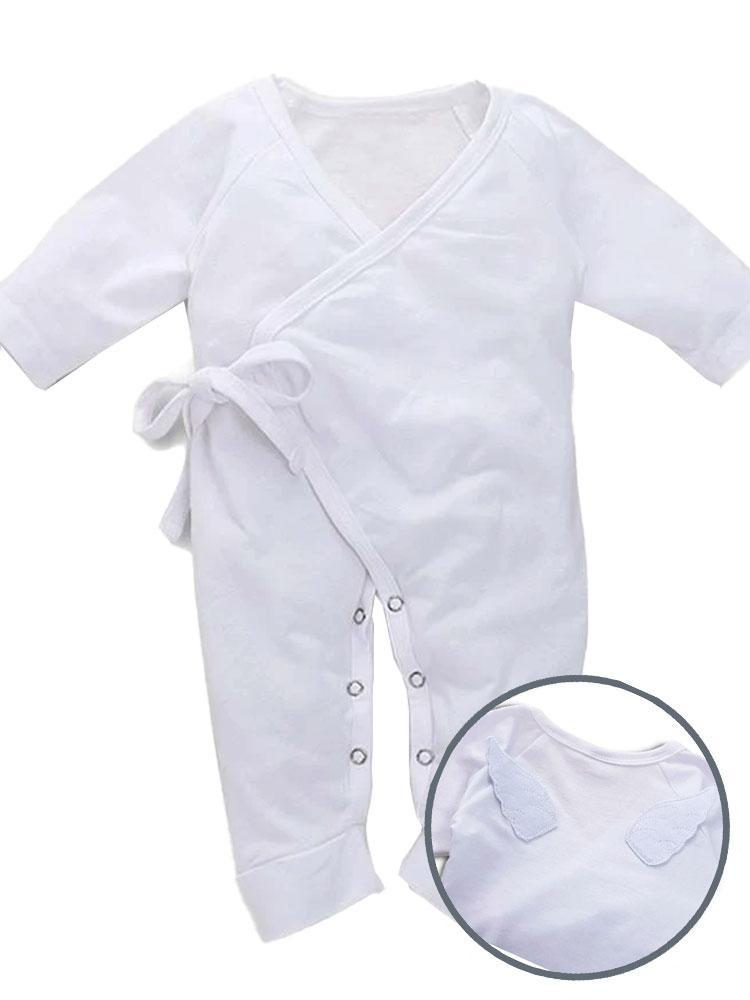 White Baby Tie-Wrap Sleepsuit with Angel Wings Detail - Stylemykid.com
