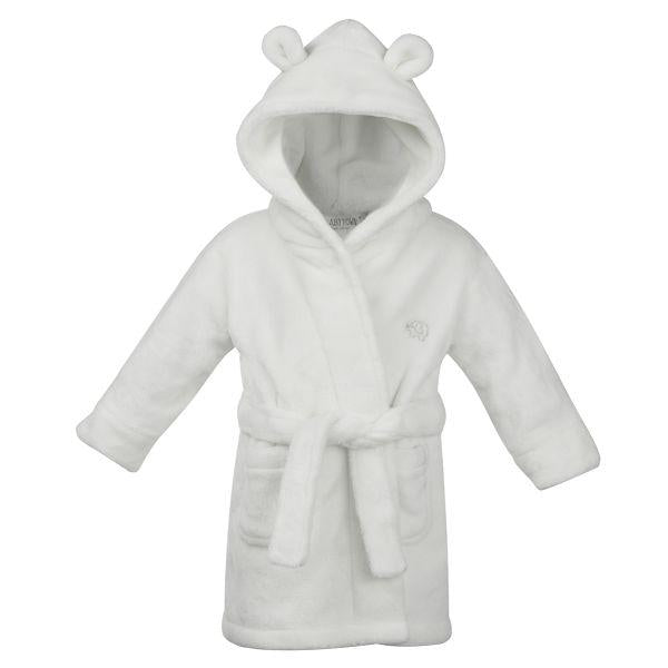 White Teddy Bear Ears Childrens Hooded Dressing Gown - 6 Months to 2 Years - Stylemykid.com