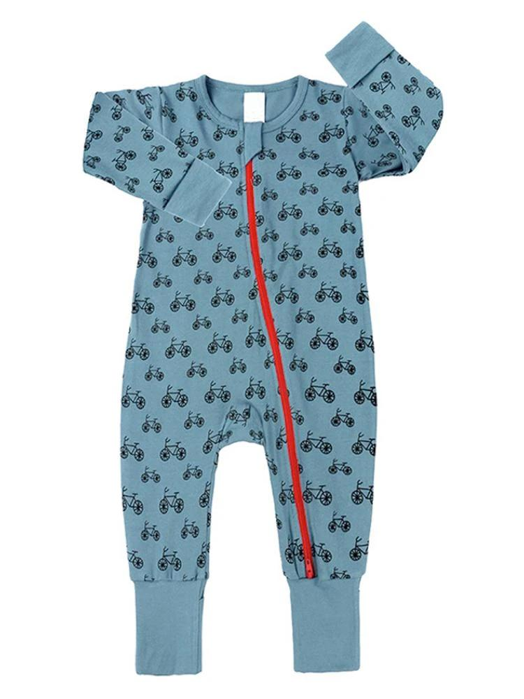 Blue Bikes Baby Zip Sleepsuit with Hand & Feet Cuffs - Stylemykid.com