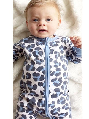 Blue Leopard - Baby Zip Sleepsuit with Turnover Hand & Feet Cuffs - Stylemykid.com