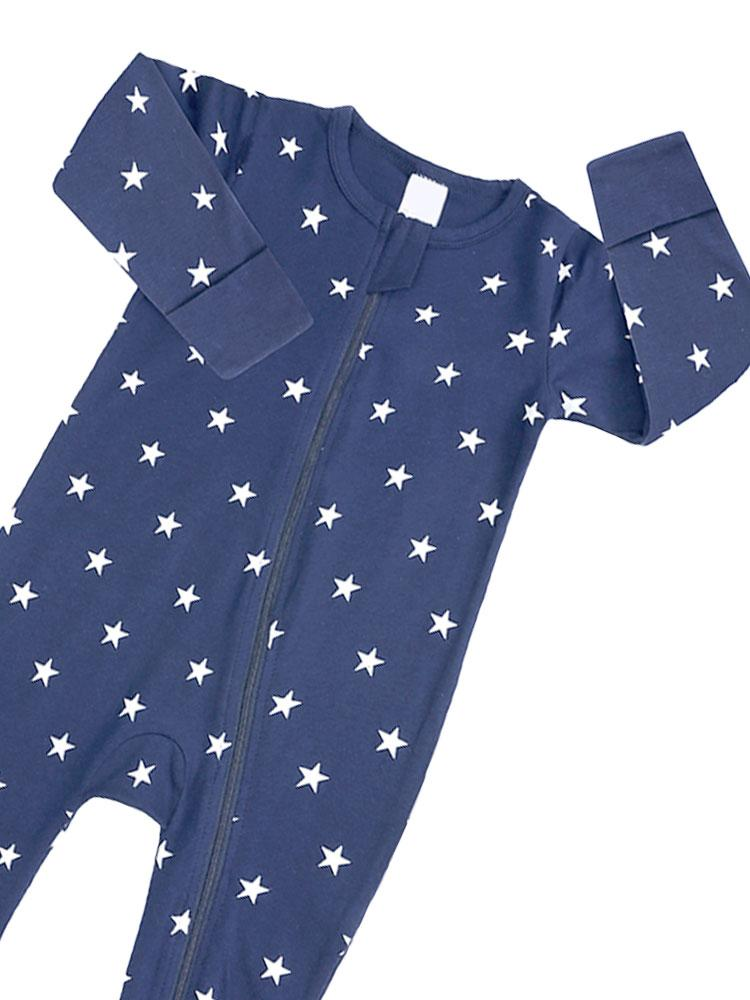 Twinkle Twinkle Dark Blue Baby Zip Sleepsuit with Hand & Feet Cuffs - NEW DESIGN - Stylemykid.com