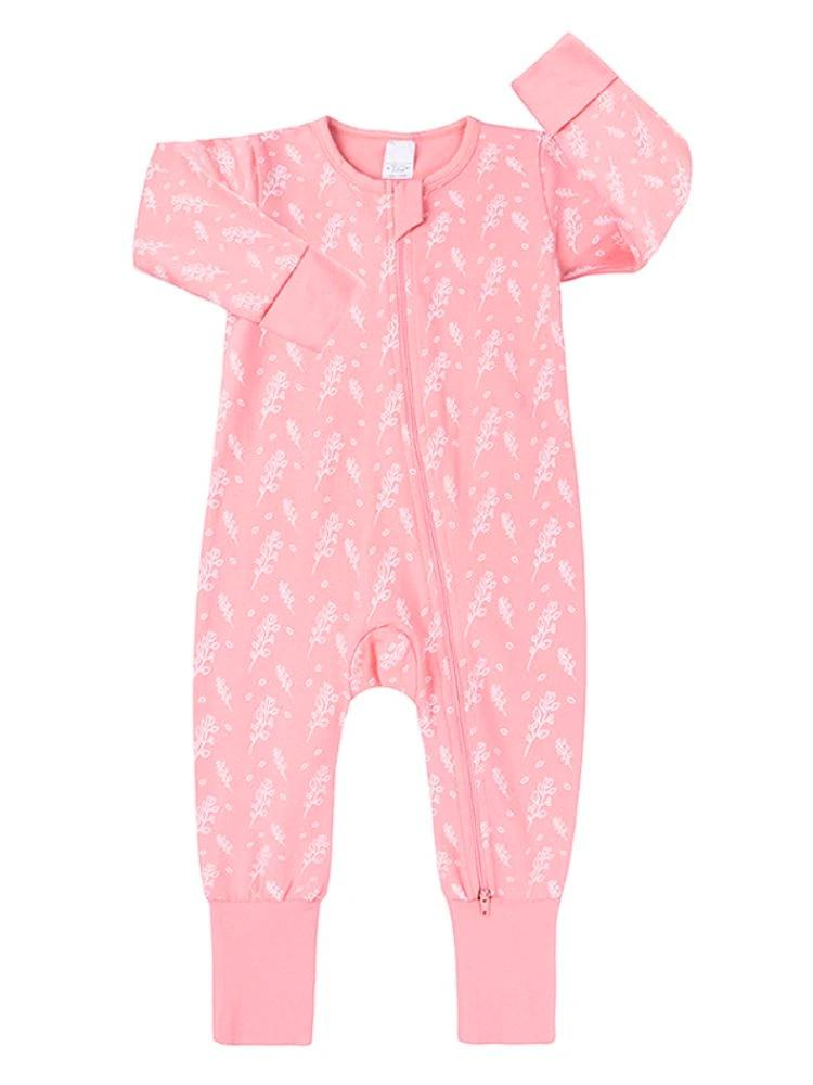 Blush Heather Baby Zip Sleepsuit with Hand & Feet Cuffs - Stylemykid.com