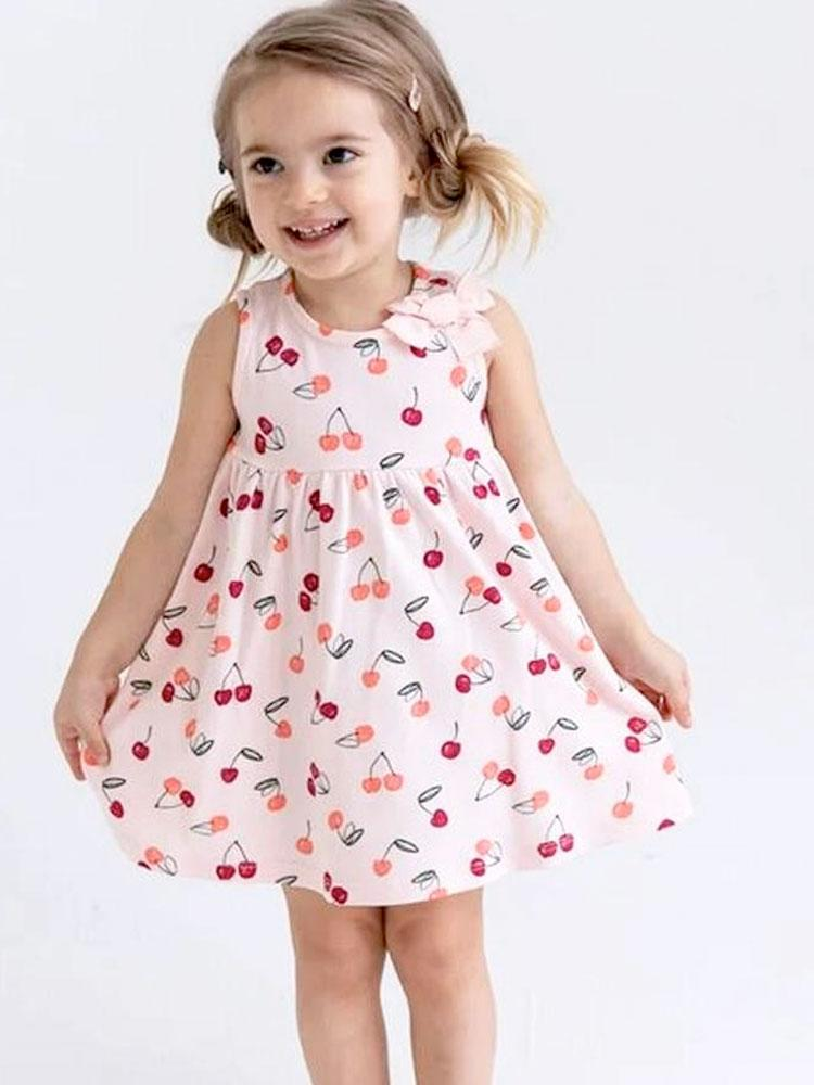Sweet Cherry Bow Baby and Girl Pink Dress