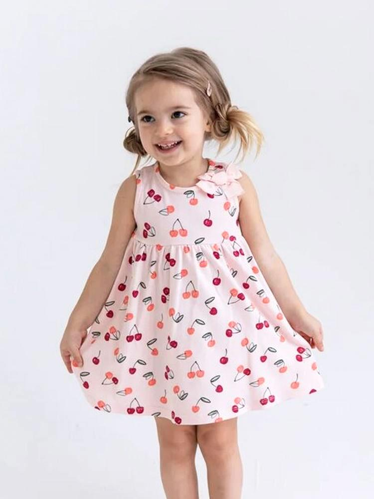 Sweet Cherry Bow Baby and Girl Pink Dress - Stylemykid.com