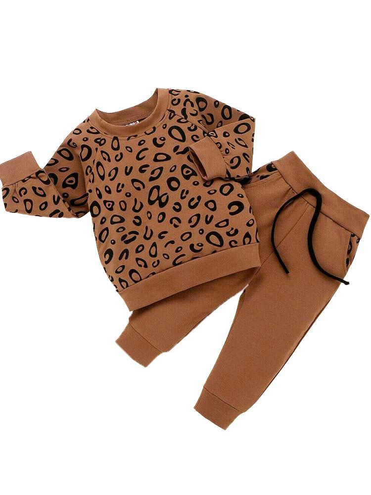 Chocolate 2 Piece Baby & Kids Tracksuit Set - Sweatshirt Top & Bottoms - Animal Print - Stylemykid.com
