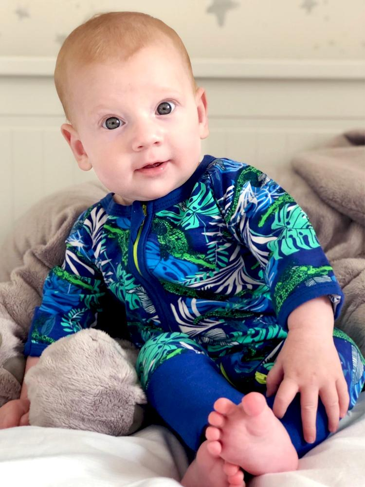 Cool Crocodile Baby Zip Sleepsuit with Hand & Feet Cuffs - Stylemykid.com