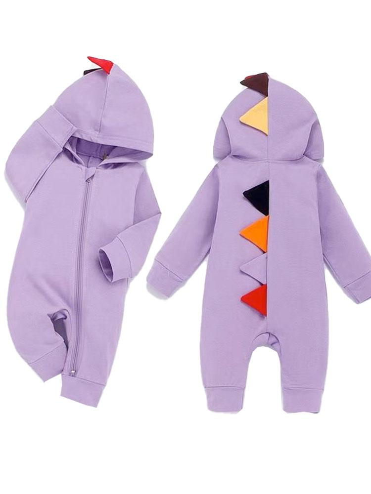 Purple Dinosaur Hooded Onesie with Coloured Spikes - Stylemykid.com
