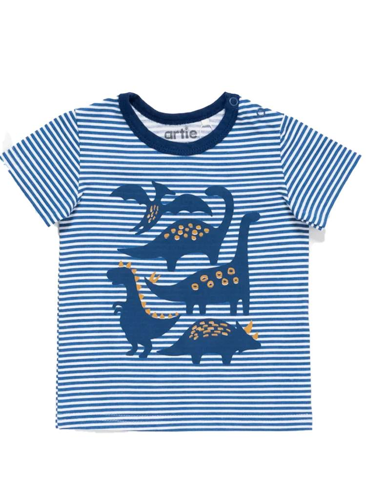 Artie - Dinosaurs Striped Blue and White T Shirt - Stylemykid.com
