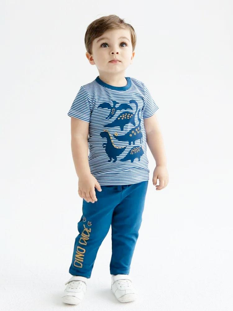 Artie - Dino Dude Blue Baby and Boy French Terry Joggers - Stylemykid.com