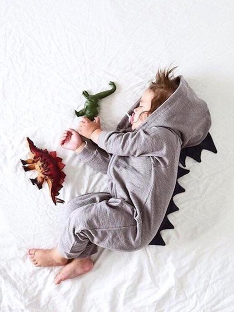 Pale Grey Dinosaur Baby Hooded Onesie With Dark Spikes - Stylemykid.com