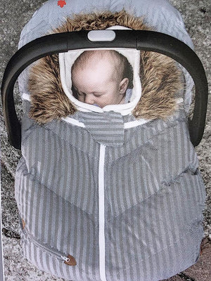 Juddlies - Infant Car Seat Cover - Herringbone Grey 0-12 Months - Stylemykid.com