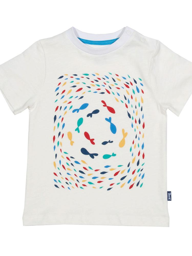 KITE Organic - Fishy Fishy Multi coloured T-shirt - from 3 months - Stylemykid.com