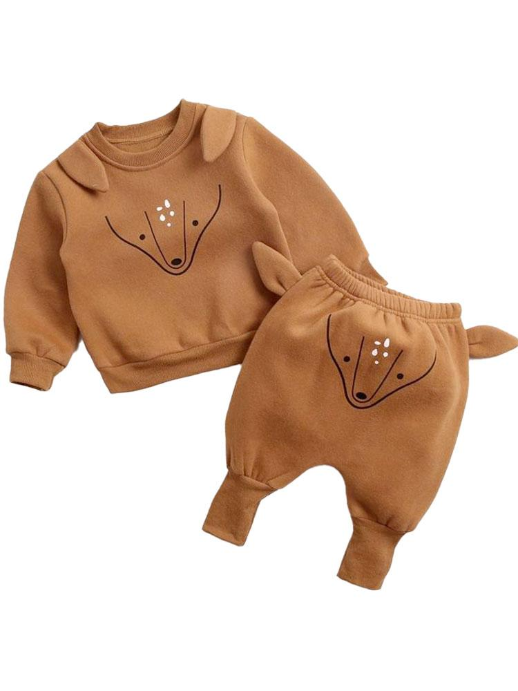 Foxy Pop - Baby/Toddler Long Sleeve Top & Bottoms Outfit with Foxy Ears - 2 Piece Tan Brown Sweatshirt Set - Stylemykid.com