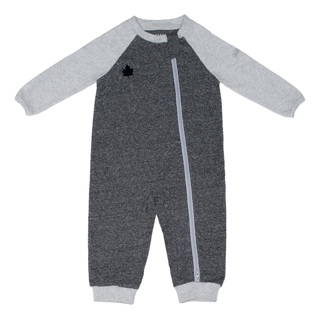 Juddlies Organic Graphite Grey Raglan Baby Sleepsuit / Playsuit with Fold Over Cuffs - Stylemykid.com