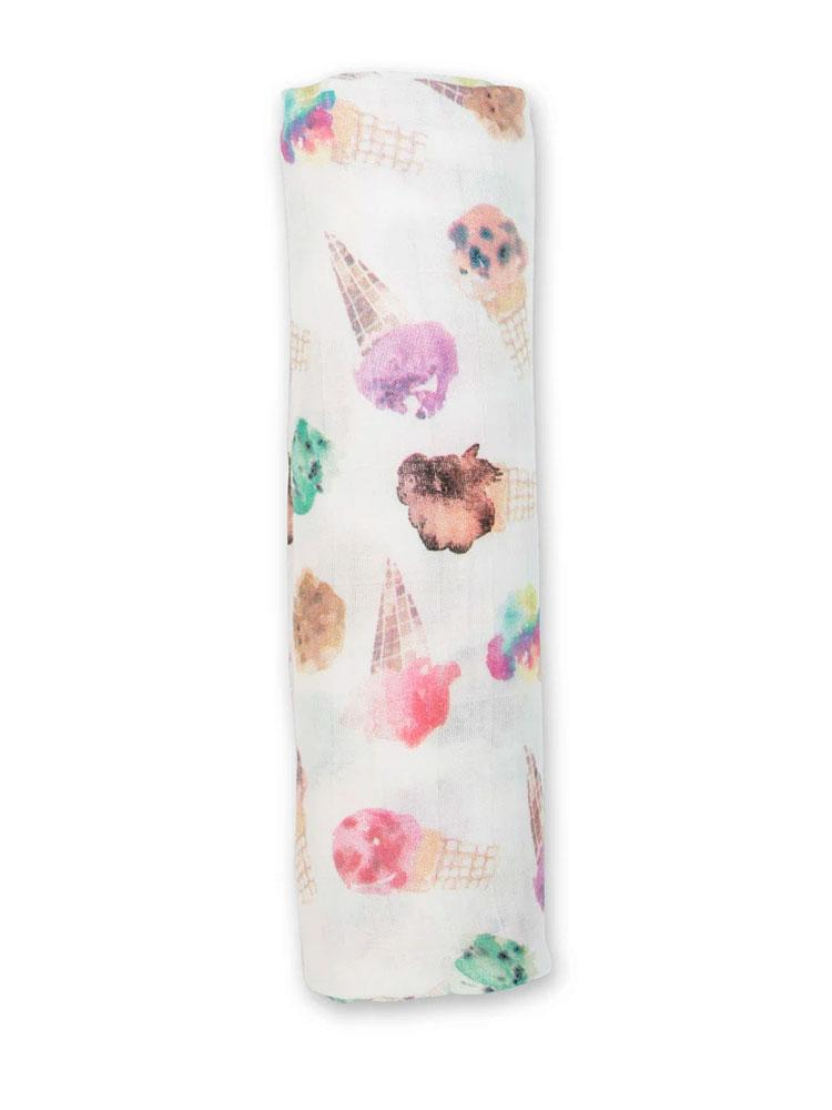 Lulujo - Large Bamboo Swaddle Blanket - Ice Cream - Stylemykid.com
