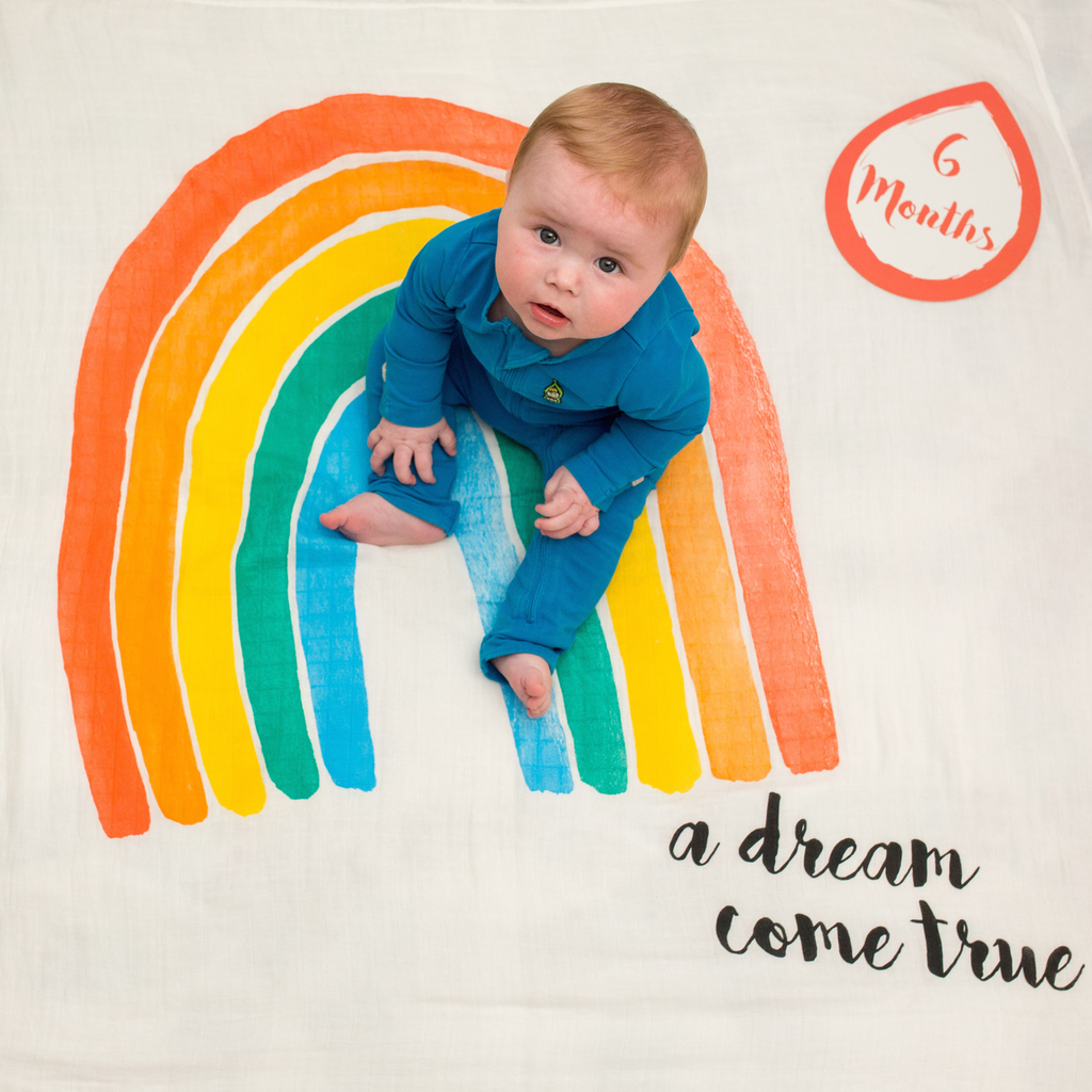 Lulujo - A Dream Come True Milestone - Newborn Swaddle Muslin Blanket and Milestone Cards Set - Stylemykid.com