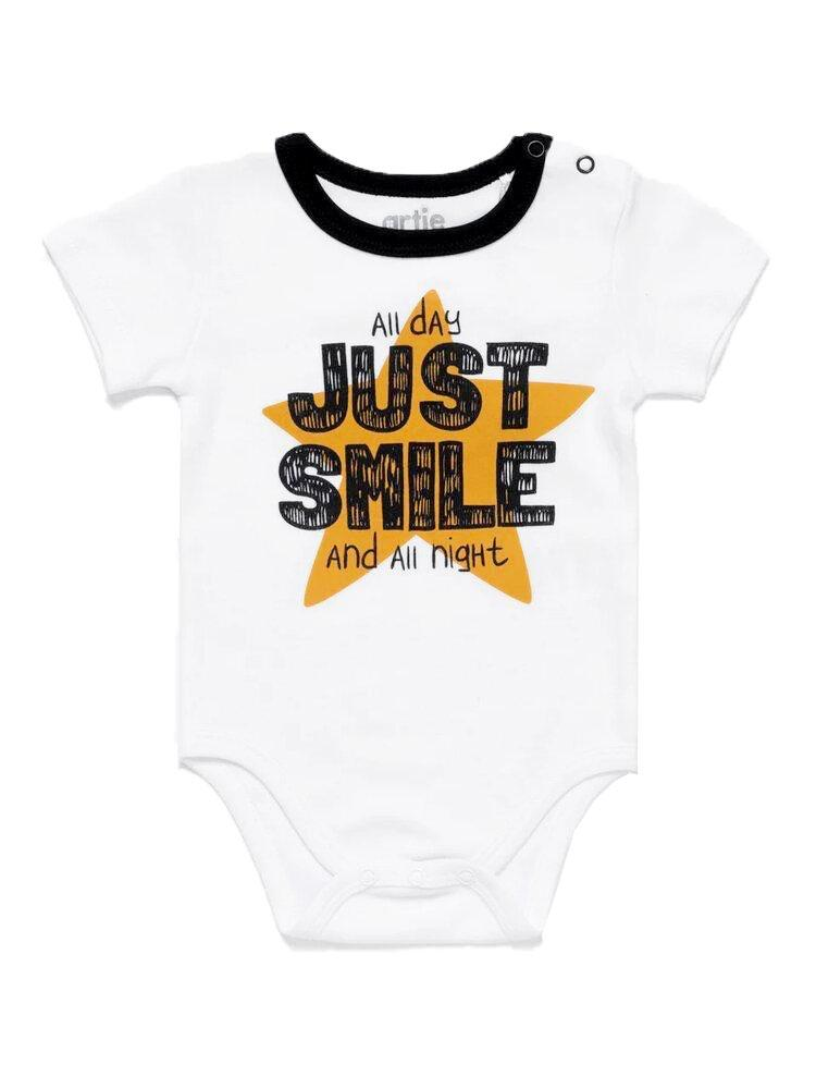 Just Smile White Short Sleeve Baby Bodysuit - Stylemykid.com