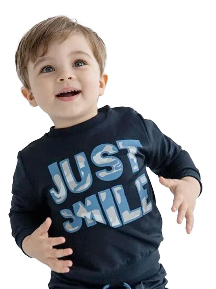 Just Smile Camo Navy French Terry Baby and Boy Sweatshirt - Stylemykid.com