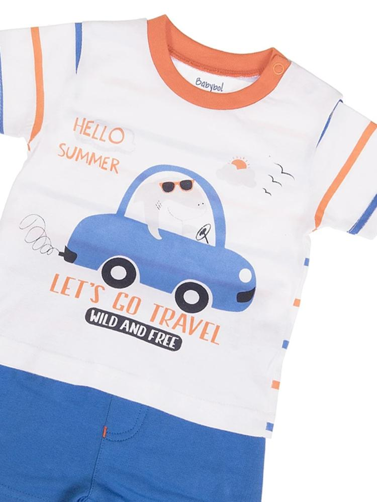 Babybol - Lets Go Travel T-shirt and Blue Shorts Baby 2 Piece Outfit - Stylemykid.com