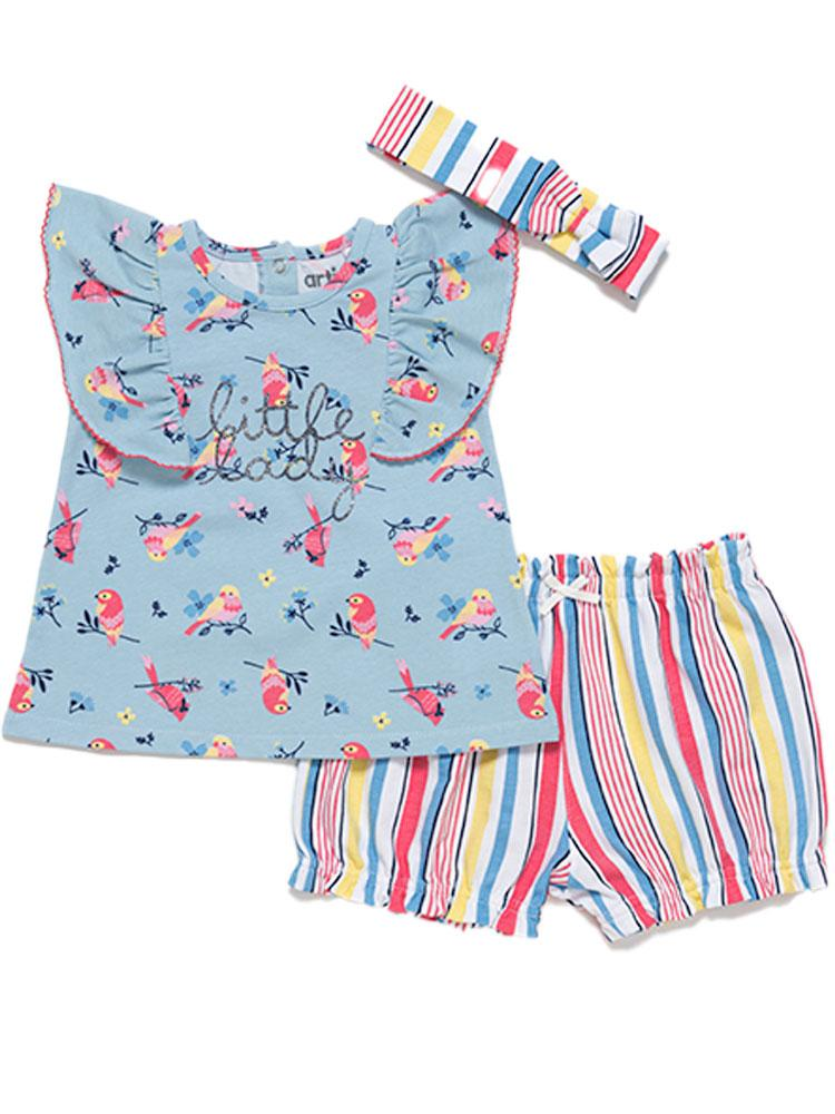 Artie - Little Lady - Girls Floral Top Stripy Shorts and Headband Set - Stylemykid.com