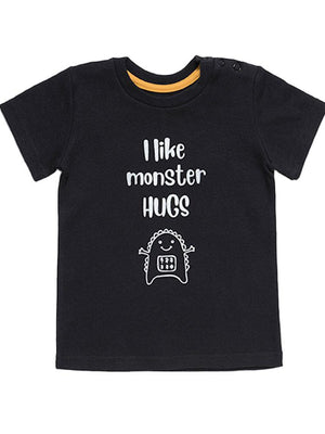Artie - I Like Monster Hugs - Boys Black T Shirt - Stylemykid.com