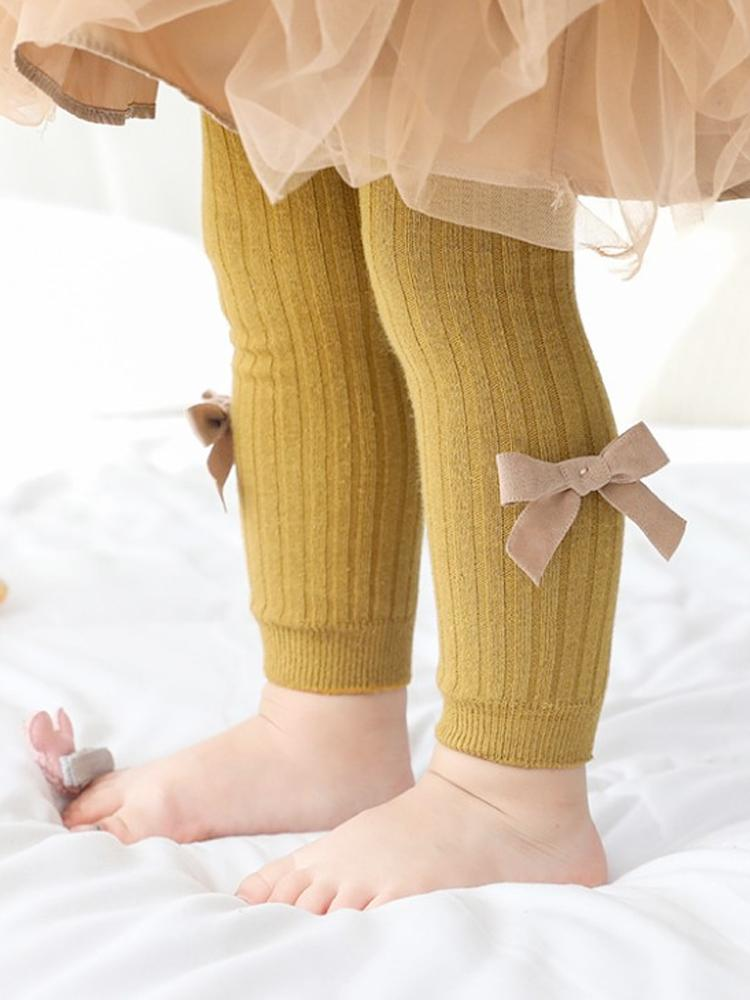 Mustard Ribbon Bow Ribbed Footless Girls Tights/ Leggings - Stylemykid.com