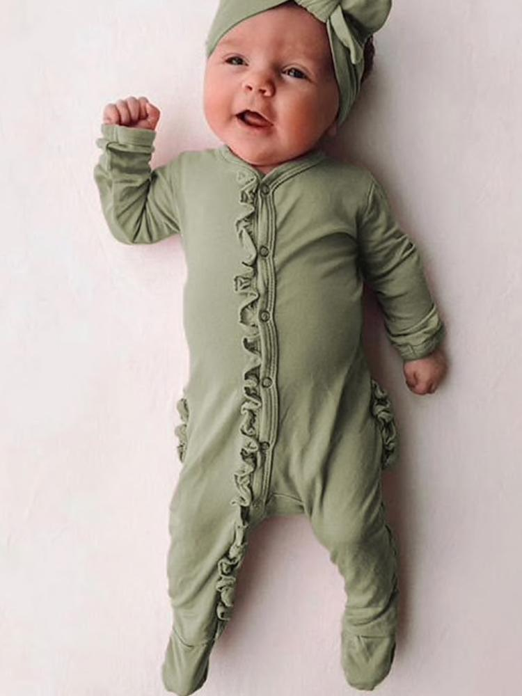 Olive Green Baby Footed Sleepsuit with Front & Bottom Ruffles - Stylemykid.com
