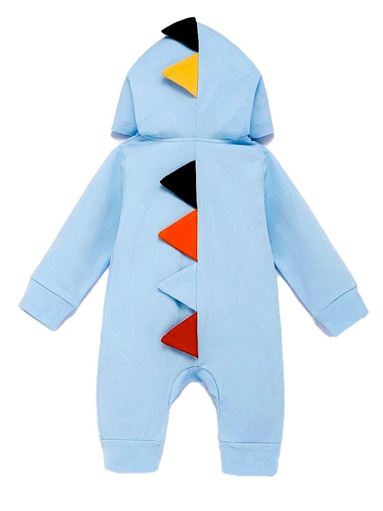 Light Blue Dinosaur Hooded Onesie with Coloured Spikes - Stylemykid.com