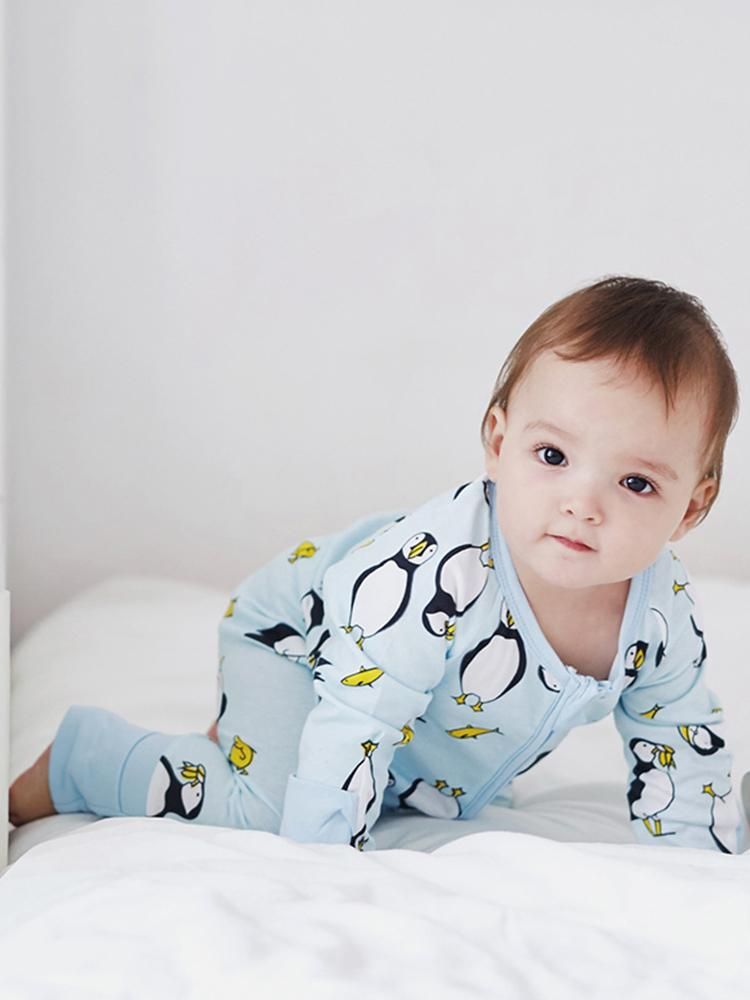 Playful Penguins Zippy Baby Sleepsuit with Hand & Feet Cuffs - Stylemykid.com
