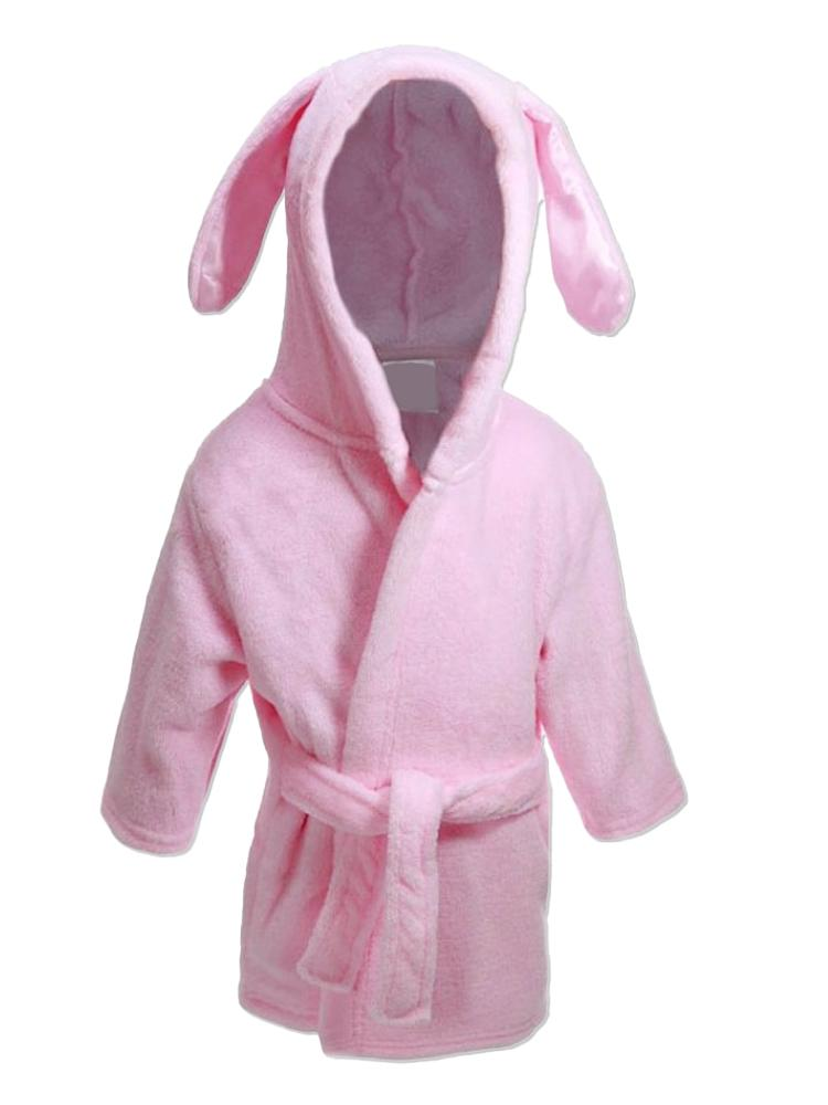 Pink Bunny Ears Children's Hooded Dressing Gown - 6 Months to 18 Months - Stylemykid.com