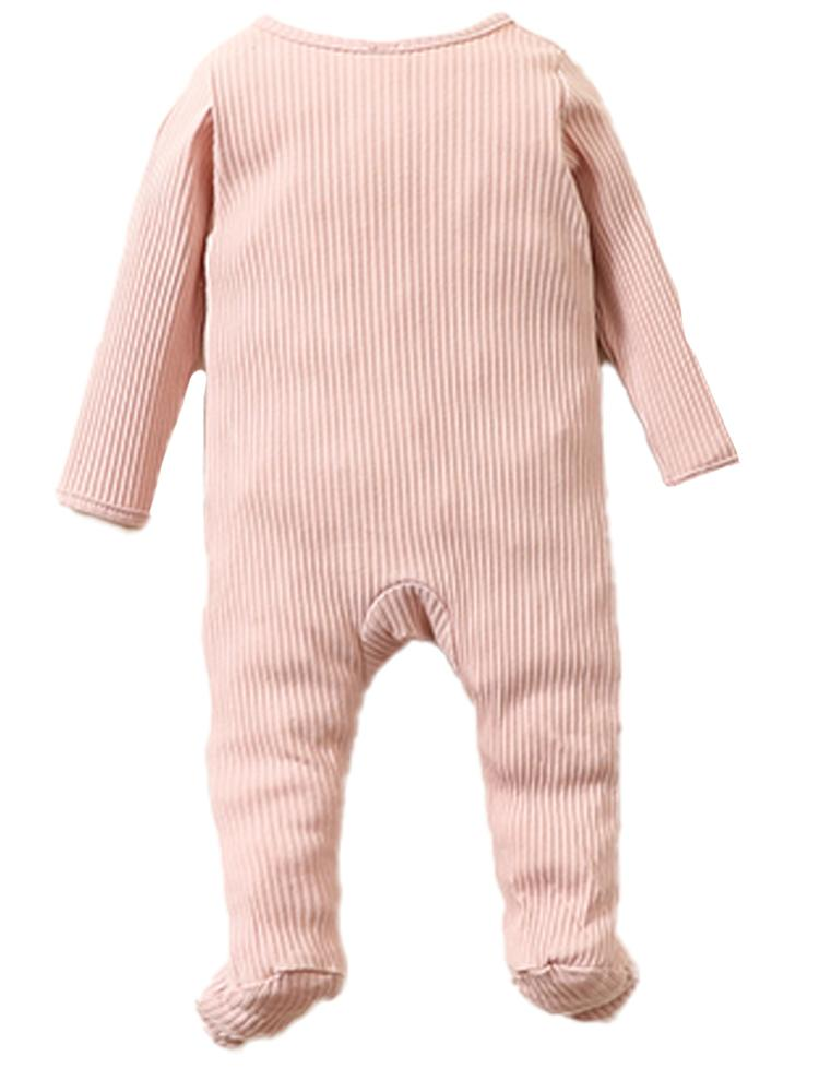 Pale Pink Footed Ribbed Baby Zip Sleepsuit - 0-6 months - Stylemykid.com