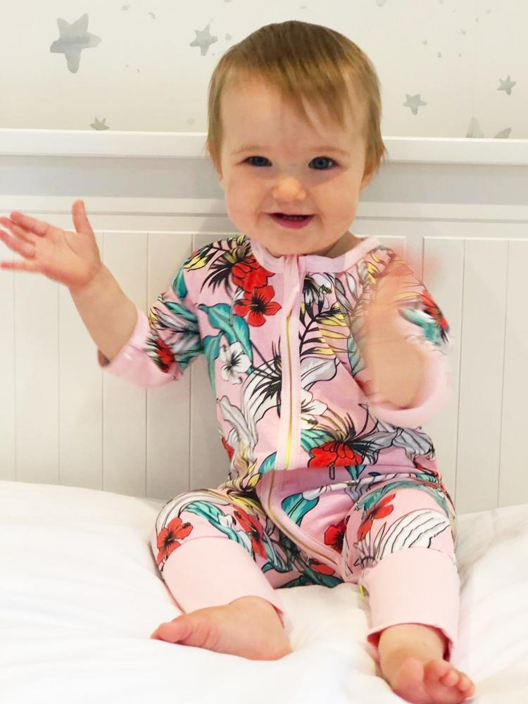 Pink Tulips Zippy Baby Sleepsuit with Hand & Feet Cuffs - Stylemykid.com