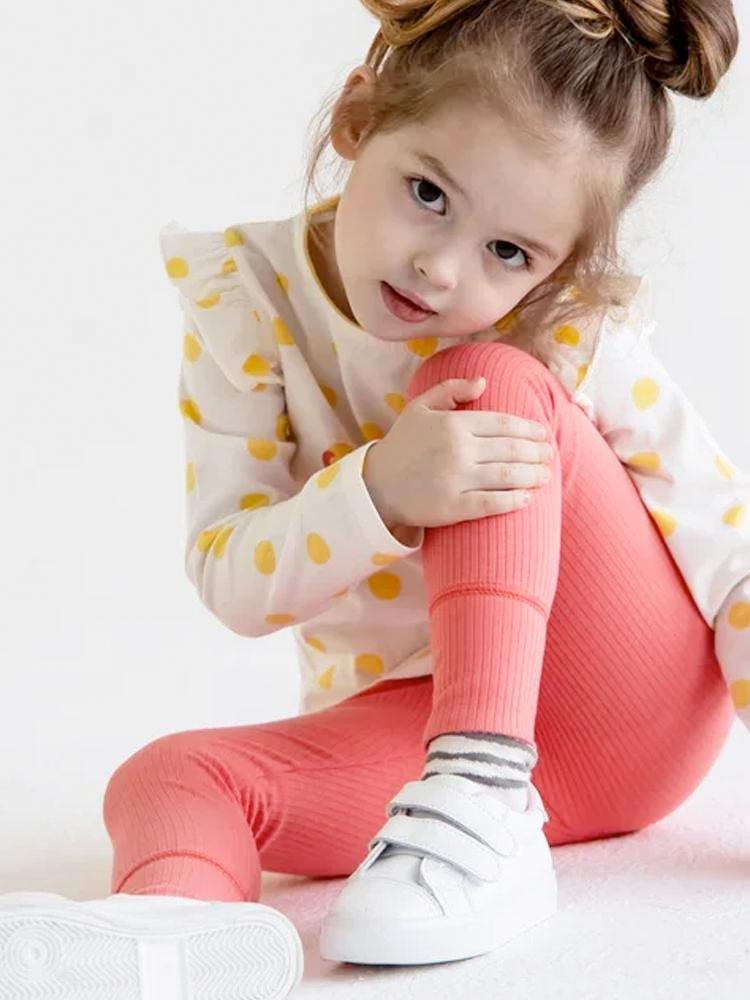 Artie - Bright Pink Ribbed Baby and Girl Leggings - Stylemykid.com