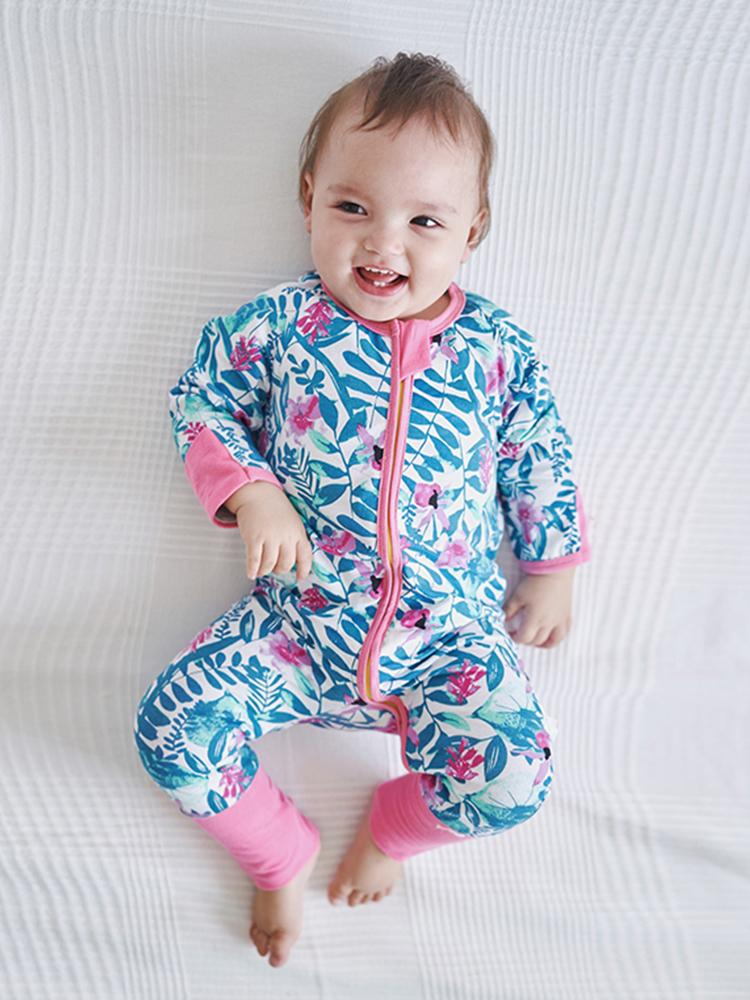 Pink Petals Zippy Baby Sleepsuit with Hand & Feet Cuffs - Stylemykid.com