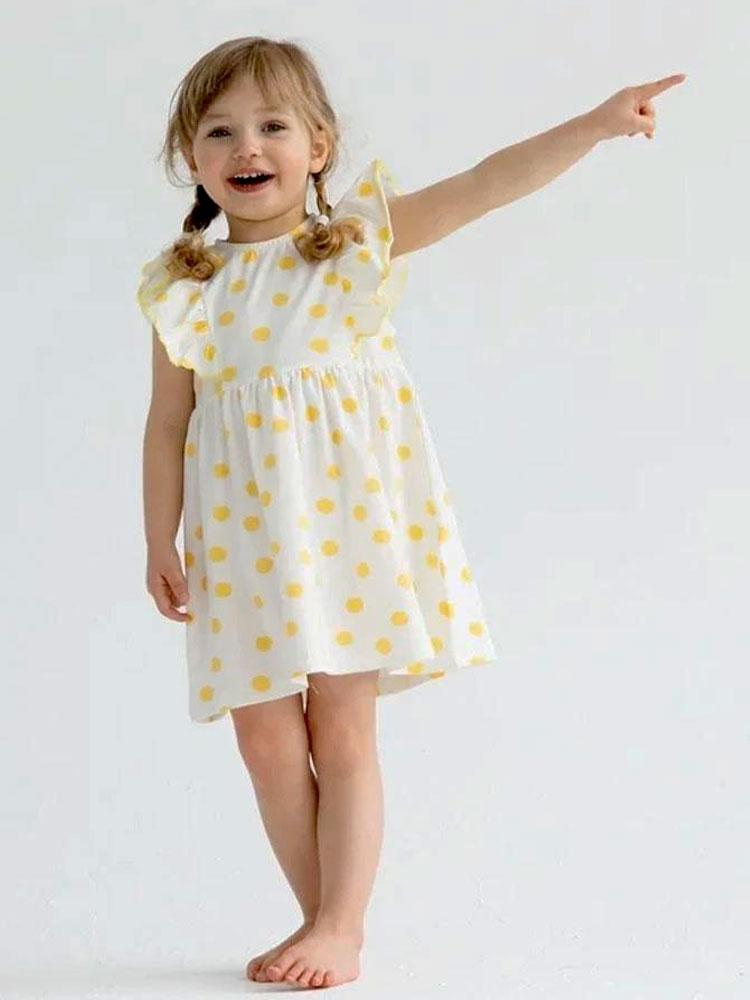 Yellow and White Polka Dot Baby and Girl Frill Dress