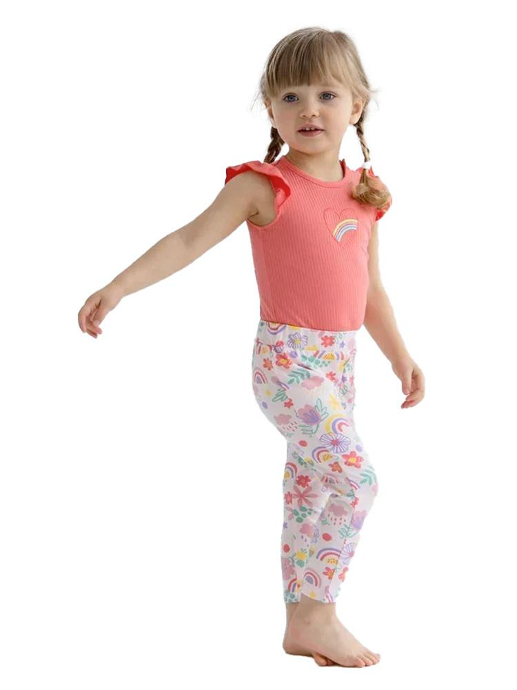 Artie - Flowers & Rainbows Multicoloured Baby and Girl Leggings - Stylemykid.com