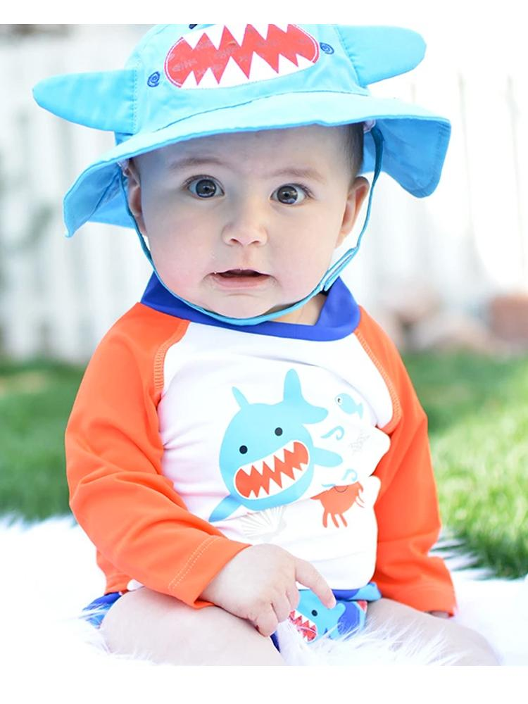 Zoocchini - UPF50+ Baby Swim Top/ Rash Guard - Deep Sea Mates Shark & Crab - Stylemykid.com