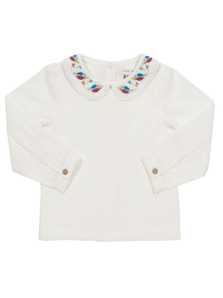KITE Organic - Robin White Girls Blouse with Peter Pan Bird & Flower Collar 6-12 months - Stylemykid.com