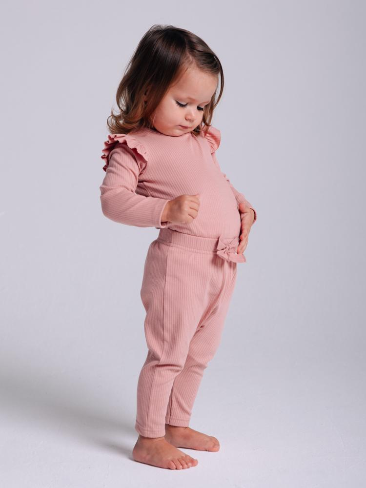 Artie - Ribbed Pink Baby Girls Bodysuit with Ruffles - Rose Forest - Stylemykid.com