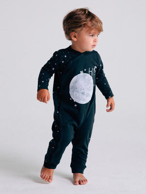 Artie - Starry Starry Night - Hi Moon! Dark Blue French Terry Onesie / Playsuit - Stylemykid.com