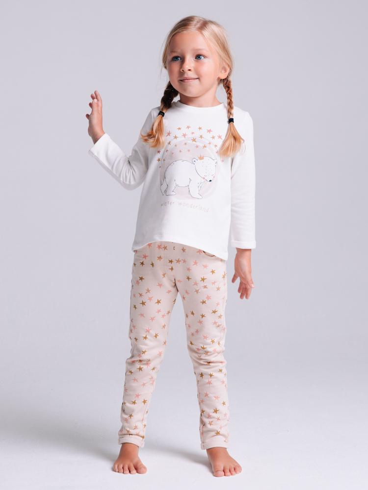 Artie - Princess Bear Starry Pale Pink Girls French Terry Leggings - Stylemykid.com