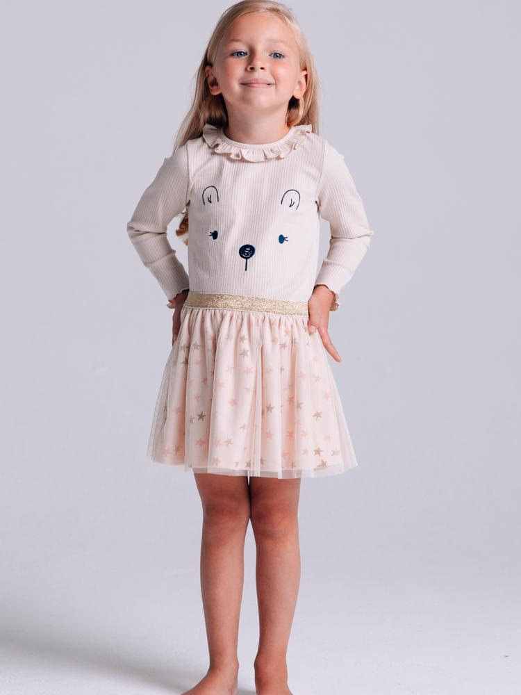 Artie - Princess Bear Starry Pale Pink & Gold Girls Tulle Skirt - Stylemykid.com