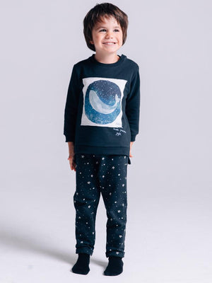 Artie - Starry Starry Night - Dark Blue Whale Black French Terry Sweatshirt - Stylemykid.com