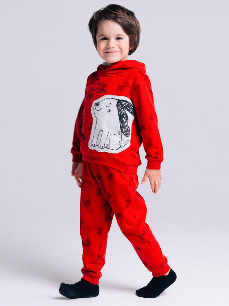 Artie - Happy Puppy Red French Terry Hoodie with Puppy Patch - Stylemykid.com